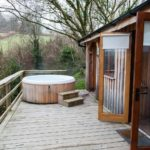 large deck and hot tub